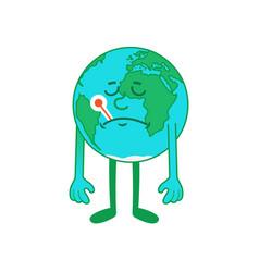 Cartoon character sick earth vector