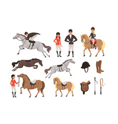cartoon jockey icons set with professional vector image