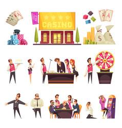 Casino life characters set vector