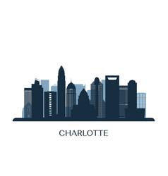 charlotte skyline monochrome silhouette vector image