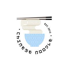 chinese food pattern bowl noodle chopsticks logo vector image