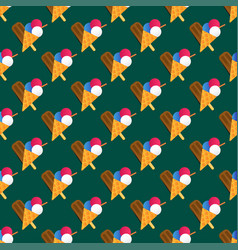 chocolate vanilla ice cream cone seamless pattern vector image