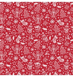Christmas Red Seamless Pattern New year vector image