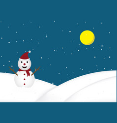 christmas snow doll standing snow hill background vector image