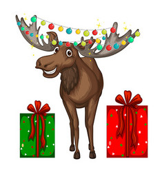 Christmas theme with reindeer and presents vector image