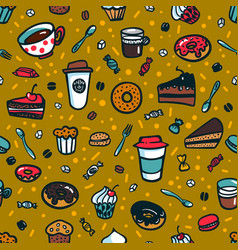 coffee theme seamless background colorful doodle vector image