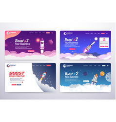 Collection boost business website landing page vector