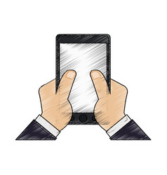Color pencil hand touching a tablet screen icon vector