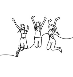 continuous line drawing group girls jumping vector image