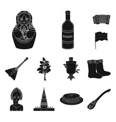 country russia travel black icons in set vector image