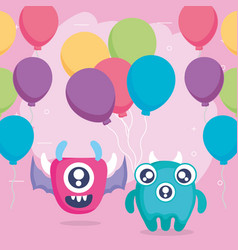Crazy monsters couple with balloons helium vector
