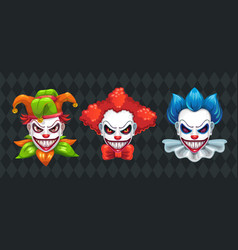 Creepy clown faces set spooky halloween masks vector