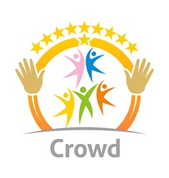Crowd community celebration children design vector