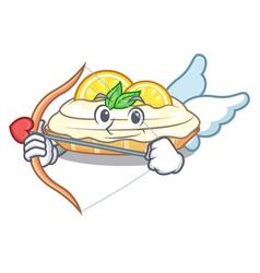 Cupid cartoon lemon cake with sugar powder vector