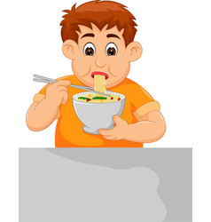 Cute boy cartoon eating noodle with sweating vector