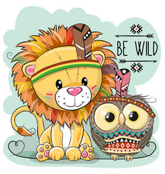 Cute cartoon tribal lion and owl vector