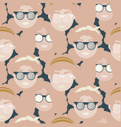 cute girls with sunglasses seamless pattern vector image