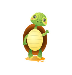 cute kawai turtle welcoming isolated on white vector image