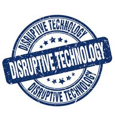 Disruptive technology blue grunge stamp vector