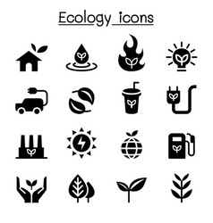 Ecology sustainable lifestyle icon set vector