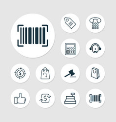 Ecommerce icons set collection of till gavel vector