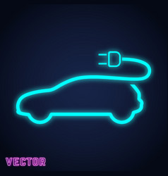 electric car sign neon light design vector image