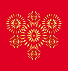 Fireworks gold on red background vector image