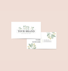 Floral name card vector