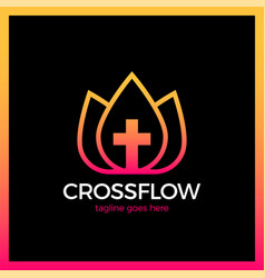 Flower crown cross logo - church calvary vector