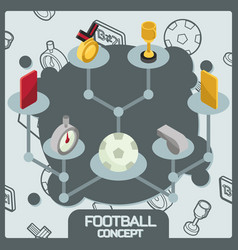 Football color concept isometric icons vector