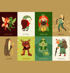 Forest fairy tale characters cards set vector