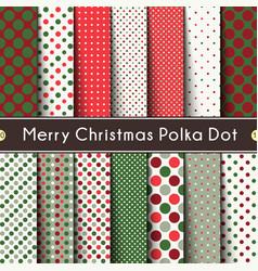 fourteen merry christmas polka dot seamless vector image