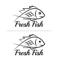 fresh fish logo symbol sign black colored set 8 vector image