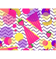 Fruity seamless pattern with memphis elements and vector