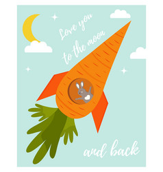 funny rabbit in love in a carrot rocket vector image