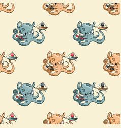 Giant octupus seamless pattern vector