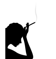 Girl thinks and smokes a cigarette a vector illust vector