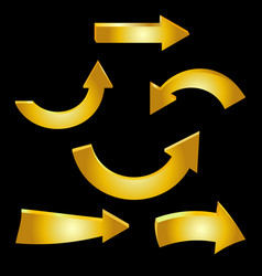 golden arrow sparkling on black background vector image
