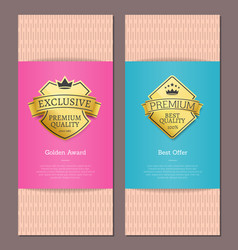 Golden award best offer guarantee exclusive label vector