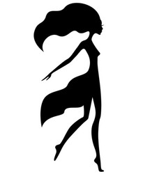 graceful girl with waving hair vector image