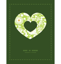 Green and golden garden silhouettes heart vector