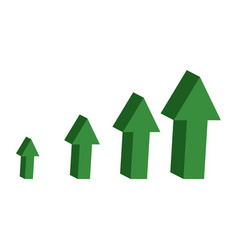 Green arrows 3d a symbol dynamics financial vector