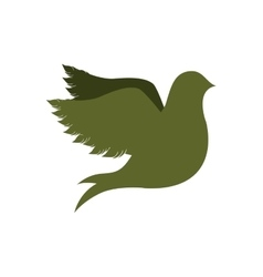 green silhouette fly bird icon flat vector image