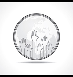 hand background with earth vector image