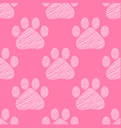 hand drawn doodle style cat footprint seamless vector image