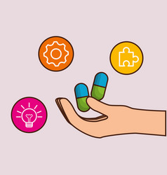 hand with medicine pills icon vector image