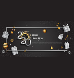 Happy new year 2020 silver color with golden vector
