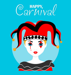 Harlequin carnival poster vector