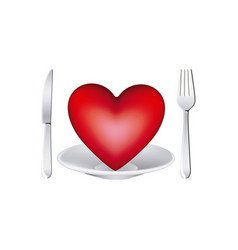 Healthy heart food and dish and knife and fork vector