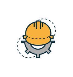 helmet gear work tools engineering icon vector image